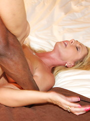 Blonde slut gets some hard black cock